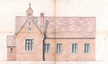 Front elevation of the school extension in 1870 [AD3865/17/5]